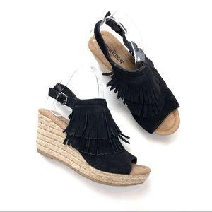 Minnetonka Ashley Suede Fringe Wedge Sandals